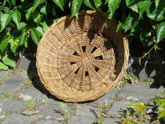 Schale mit außergewöhnlichem Boden aus grüner ungeschälter Weide