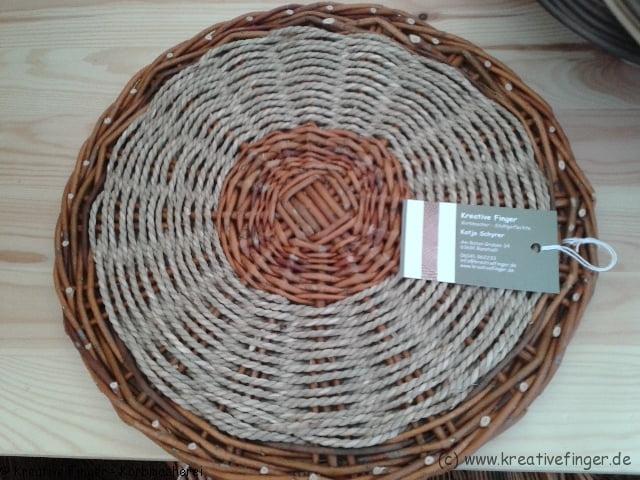 Untersetzer aus ungeschälten Weiden und Seegrasschnur
